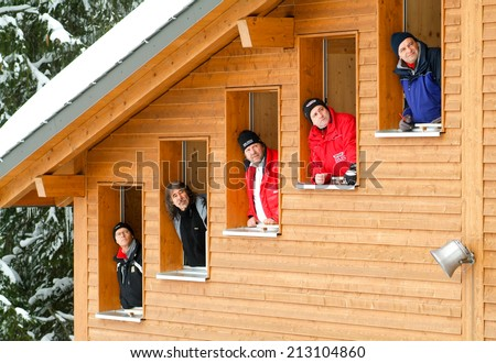 Engelberg, Switzerland - 19 December 2010: the jury that is considering the flight during the ski jumping in Engelberg in the Swiss Alps