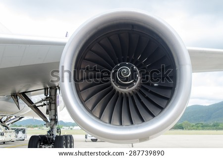 Engine airplane boeing background.Engine airplane.