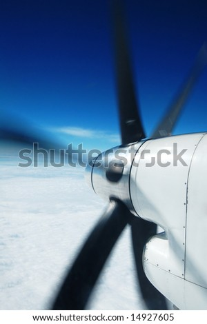 engine and propeller of the plane - stock photo