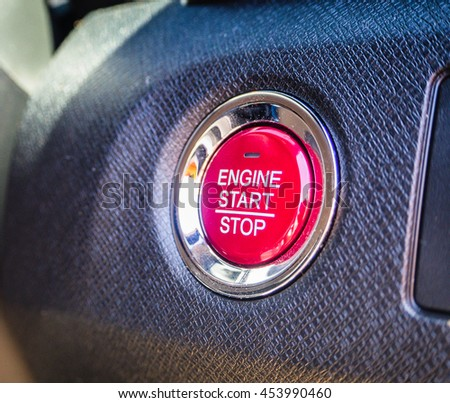Engine car starts or stops button on modern car