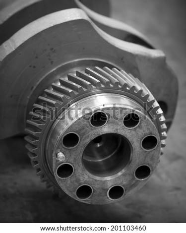 Engine gear Crank the engine - stock photo