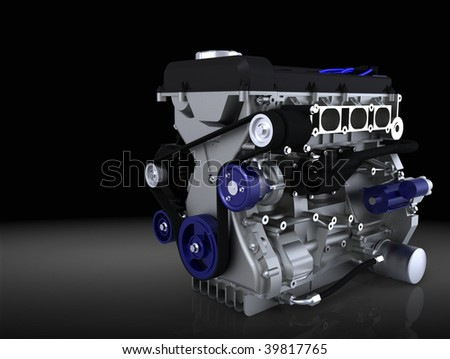 Engine isolated in studio - ideal for presentation slide background