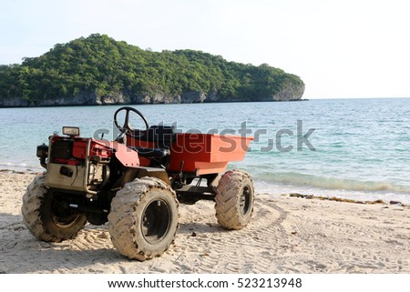 Engine modified adapted to a small truck on the beach in Thailand.