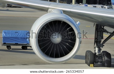 engine of passenger airplane waiting in airport at platform