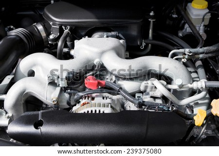 engine of the modern car close up - stock photo