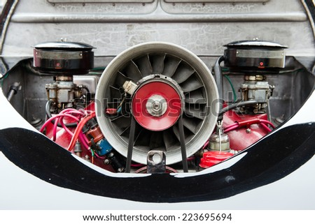engine of vintage car - stock photo