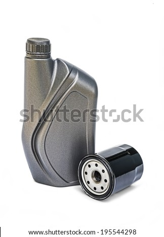 Engine oil can and oil filter  - stock photo