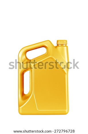 Engine oil canister  isolated on white background. blue color - stock photo