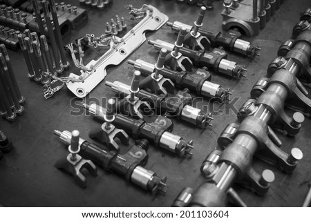 Engine oil injectors Engine spare machine Engine valve cover - stock photo