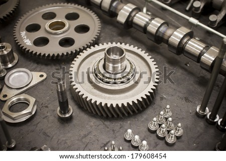 engine Parts Machine technology modern diesel engine camshaft and valves - stock photo