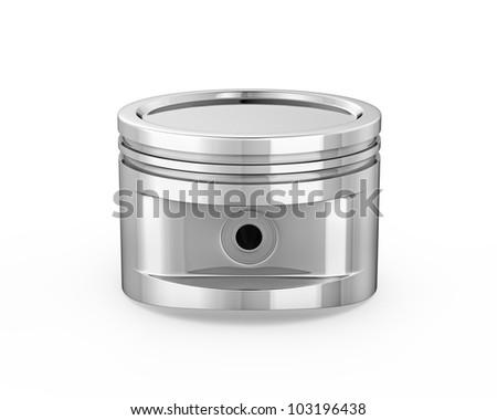 Engine piston head isolated on white background - stock photo