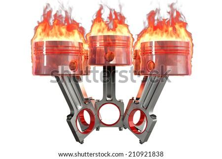 Engine piston. isolated on white background. 3d - stock photo