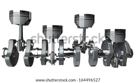 Engine pistons and cog isolated on white background High resolution 3d