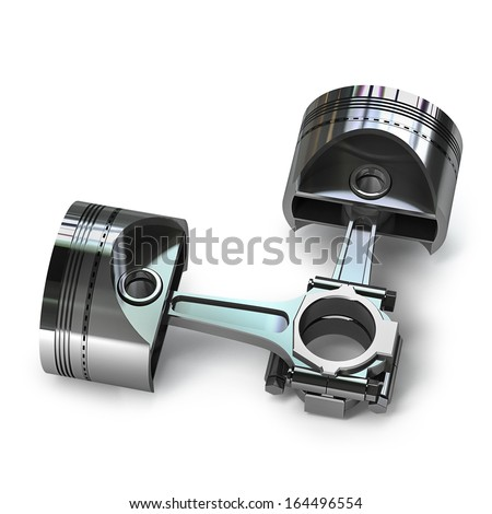 Engine pistons isolated on white background High resolution 3d  - stock photo