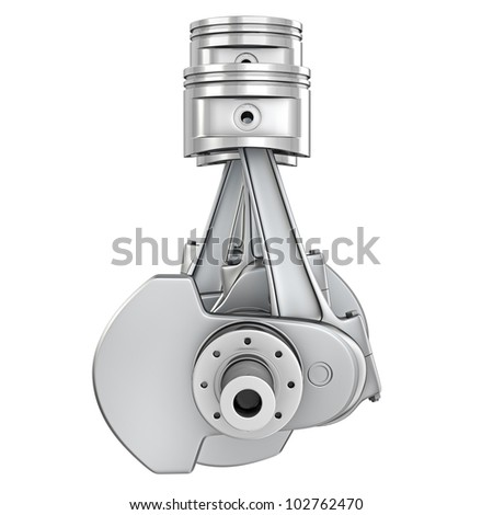 Engine pistons on a crankshaft, front view, isolated on white background - stock photo