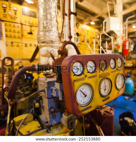 Engine room on a cargo boat ship, engine room on an oil platform, inside oil platform, inside ship  - stock photo
