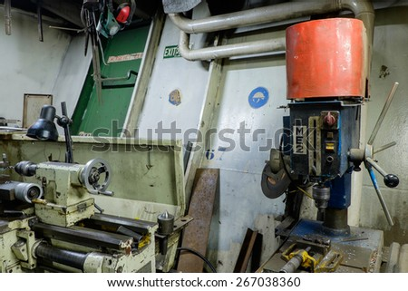 Engine Room Spaces on a modern vessel - engineering interior with motor pumps - stock photo