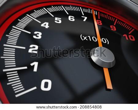Engine Rrpm gauge at 8000 rpm - stock photo