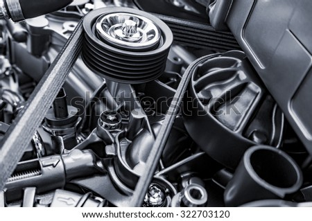 Engine timing belts - stock photo