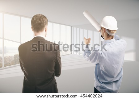 engineer and businessman standing in room. 3D Rendering - stock photo