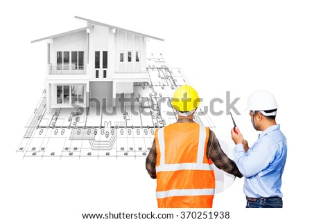 Engineer and Foreman working at house and plan for design presenting or advertising real estate