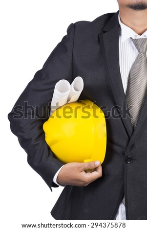 engineer and industrial factory on white background - stock photo