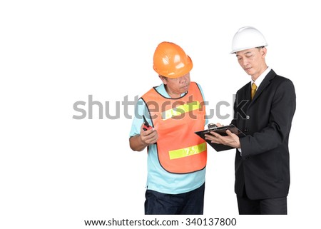 Engineer and supervisors are checking construction. on white background