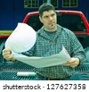 Engineer at the construction site - stock photo