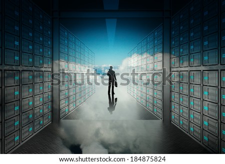 engineer business man in 3d network server room and cloud inside as concept  - stock photo