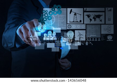 engineer businessman working on modern technology as concept - stock photo