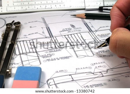 engineer calculating a estructure fundation - stock photo