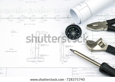 Engineer construction business work concept engineering stock photo engineer construction business work concept engineering blueprint diagrams paper drafting and industrial equipment technical tools malvernweather Gallery