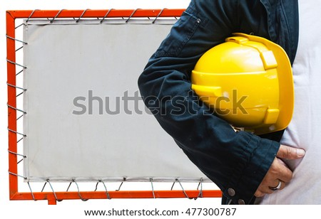 engineer contractor with renovation factory background