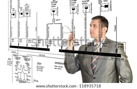 Engineer designer creation electrical scheme automation - stock photo
