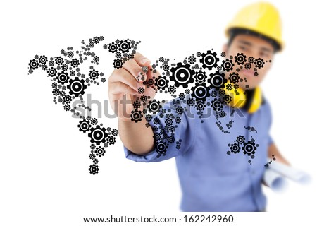 Engineer drawing gear driven industry. - stock photo