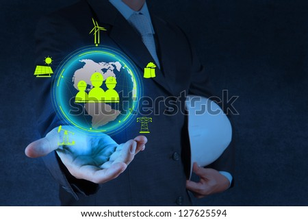engineer hand show world of industry as concept - stock photo