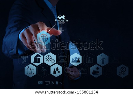 engineer hand works industry diagram on virtual computer as concept - stock photo