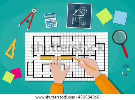 Engineer hands working on blueprint. Engineering drawing project, Sketching building. Engineer worksspace. ruler, calculator. illustration in flat style on green background - stock photo
