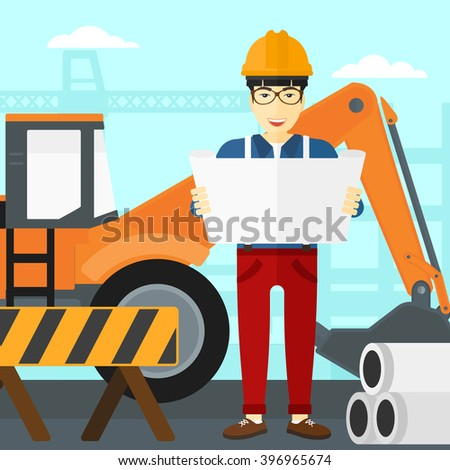 Engineer holding a blueprint. - stock photo