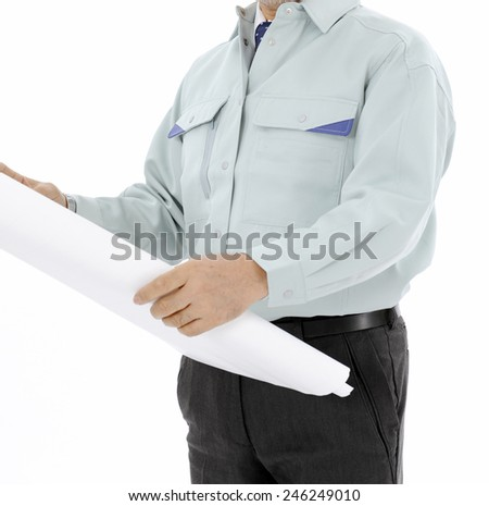 engineer holding a project documentation
