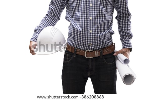 engineer holding construction helmet and rolls of blueprint on isolate white background with clipping mask - stock photo