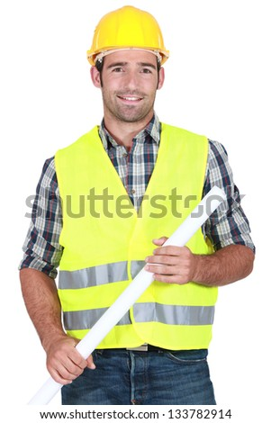 Engineer in a reflective vest - stock photo