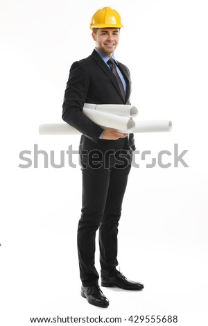 Engineer in helmet holding blueprints isolated on white