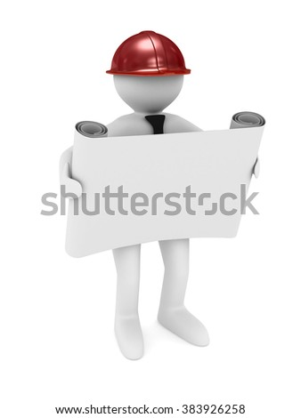engineer in helmet on white background. Isolated 3D image - stock photo