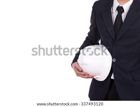 engineer in suit holding helmet isolated on white background