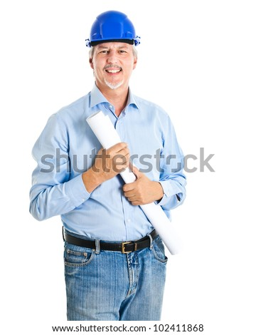 Engineer isolated on white - stock photo
