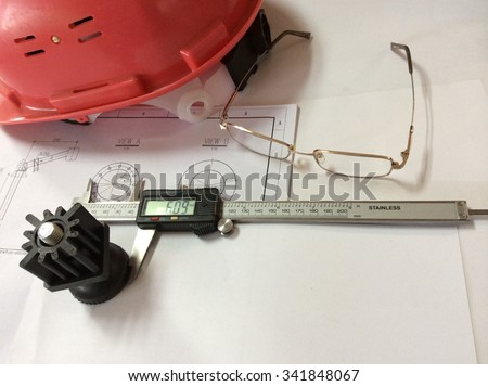 Engineer items background helmet measure glasses