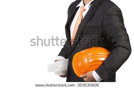engineer orange helmet for workers security isolated on white background - stock photo