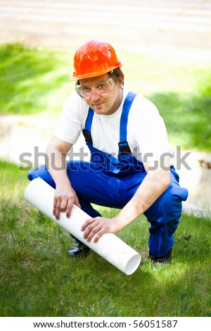 engineer outdoors - stock photo