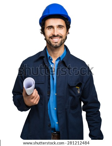 Engineer portrait isolated on white - stock photo